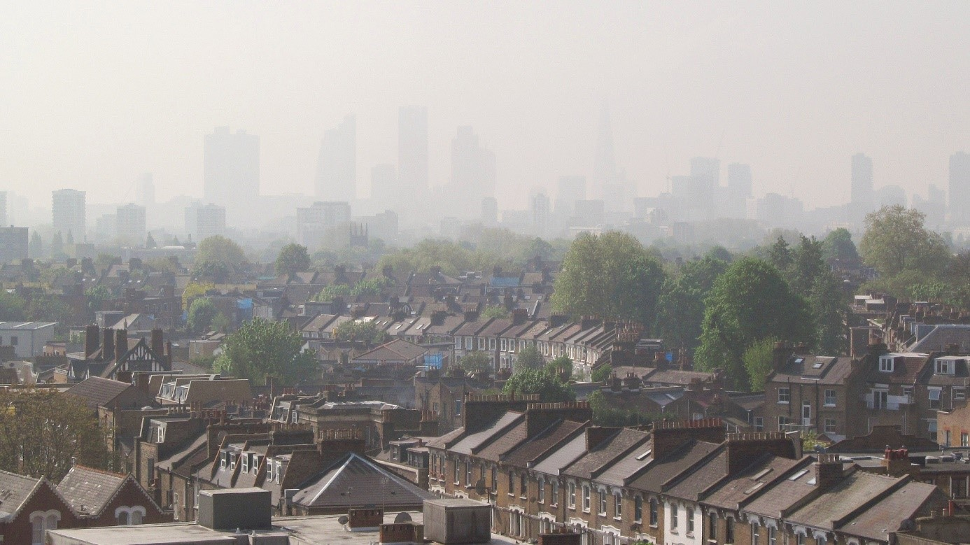 A view to smoggy Central London from Hackney